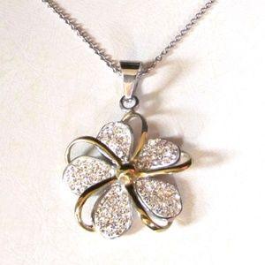 NIB Stainless Rhinestone Plumeria Flower Necklace